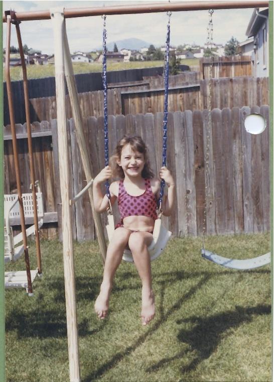 Rocking a swimsuit in the backyard in CO