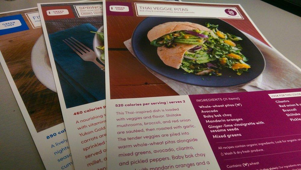 Green Chef Recipe Cards