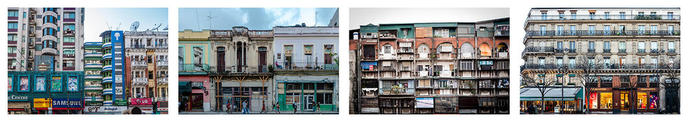 Apartment buiuldings. Myanmar 2015, Cuba 2017, Hanoi 2017, Paris 2018