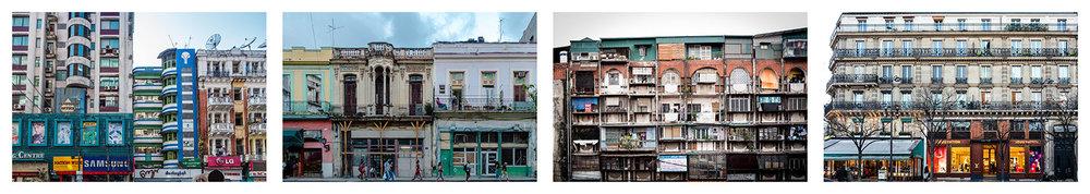 Apartment buiuldings. Myanmar 2015, Cuba 2017, Hanoi 2017, Paris 2018