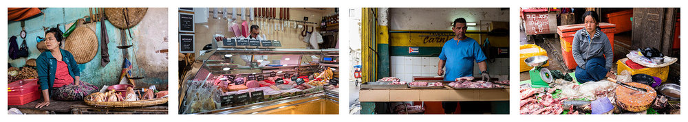 Butcher shop. Myanmar 2015, Paris 2018, Cuba 2017, Hanoi 2016