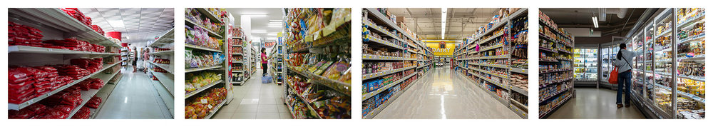 Grocery Aisles. Havana 2017, Hanoi 2016, Los Angeles 2017, Paris 2018