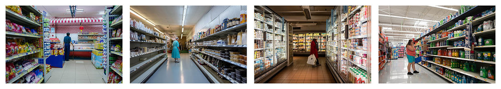 Grocery Aisles. Hanoi 2016, Missouri 2017, Paris 2018, Iowa 2017