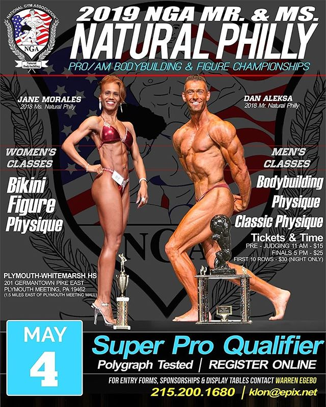 2019 NGA Pro/ Am Mr and Ms Natural Philadelphia Bodybuilding and Figure Championships on May 4th, 2019 at Plymouth -Whitemarsh HighSchool, Plymouth Meeting, PA ( a NW suburb of Philly )  Register at the Link in our Bio.  #nga #nganatural #nganaturalphilly #naturalphilly #naturalbodybuilding #bikini #figure #physique #classicphysique #philadelphiabodybuilding #mranthracite #mrcoal #worldsgym