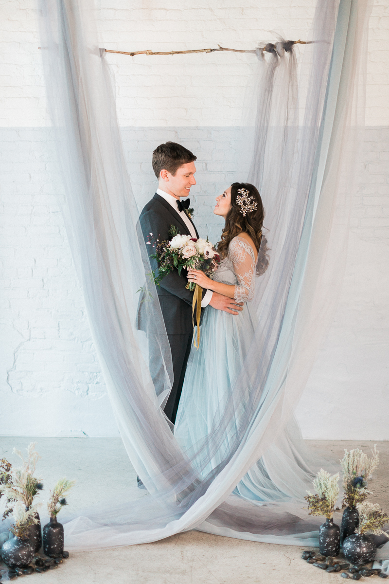 Brooklyn New York Wedding Bergn Winter ceremony backdrop bride and groom.jpg