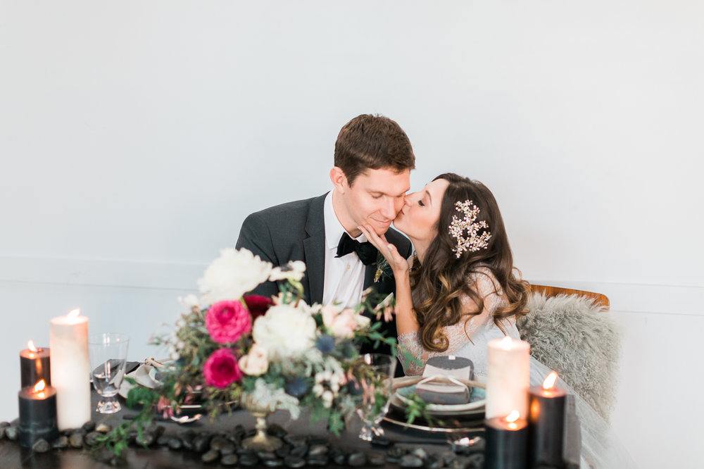 Brooklyn New York Winter Wedding Bergn tabelscape bride and groom.jpg