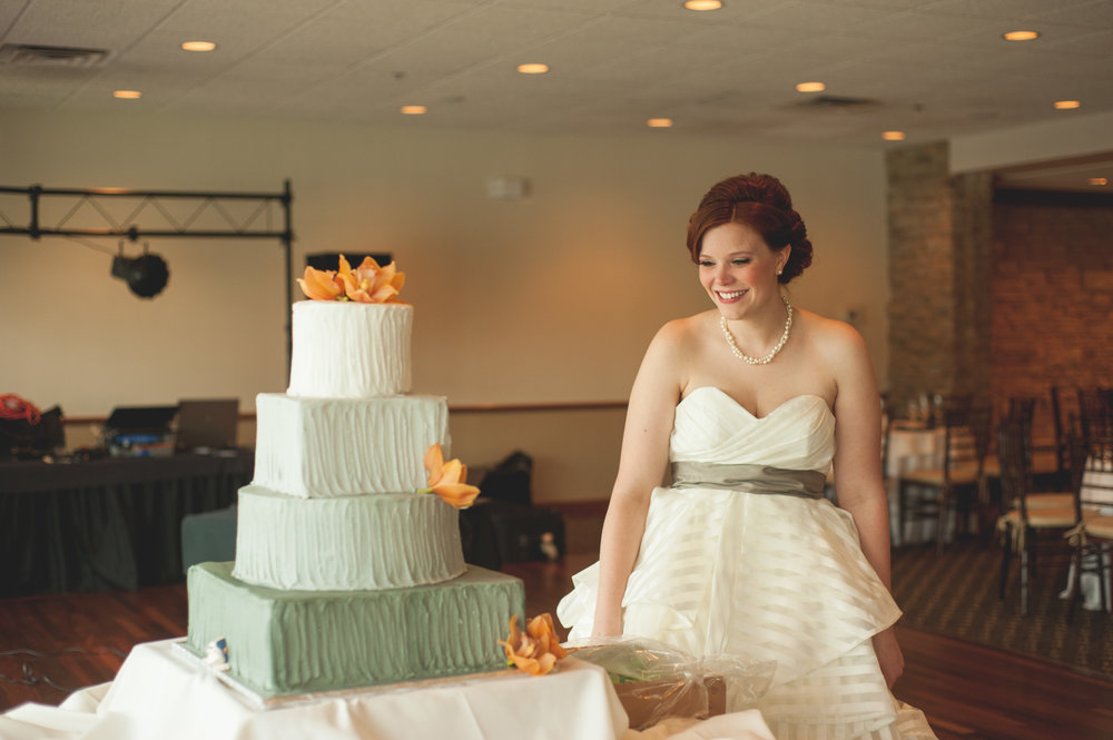 bride first look - wedding cake - bride and groom - Riverside Reception Wedding - Fabyan Forest Preserve Wedding - Penrose Brewing Wedding - fall - Geneva Illinois.jpg