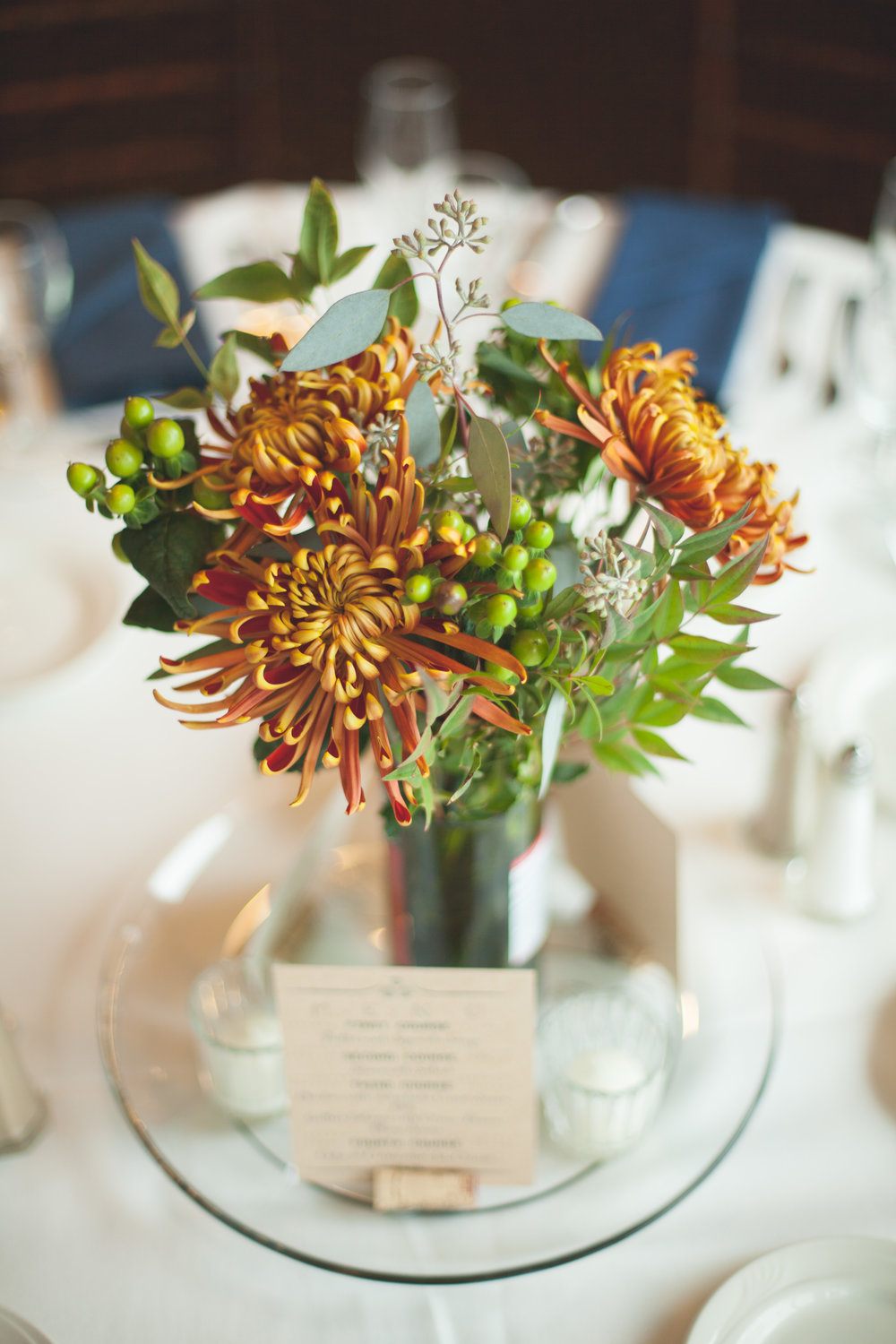 wedding centerpiece - small centerpiece - mums - Riverside Reception Wedding - Fabyan Forest Preserve Wedding - Penrose Brewing Wedding - fall - Geneva Illinois.jpg