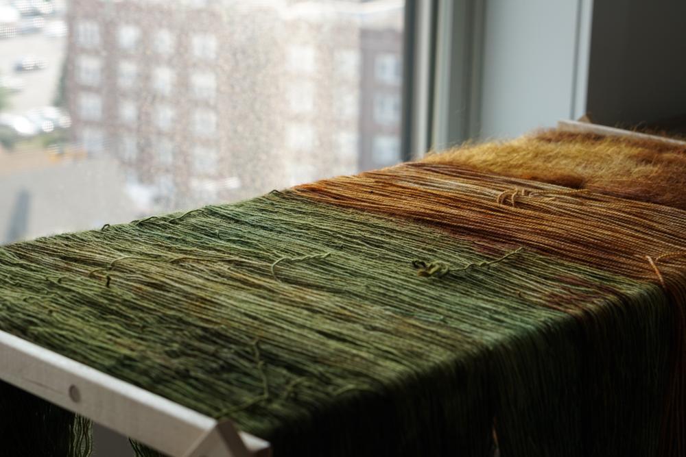 dyed yarn drying by window