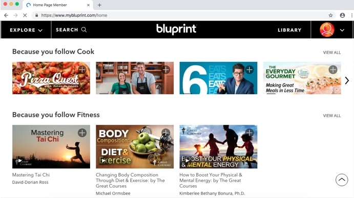 Bluprint homepage once you sign in - tailored to what you choose as your interests.