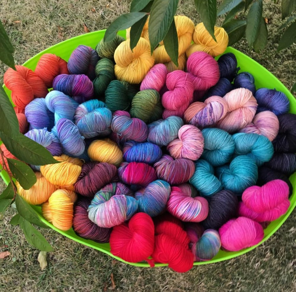 Rose Hip Chick Beautiful and multi-colored yarns