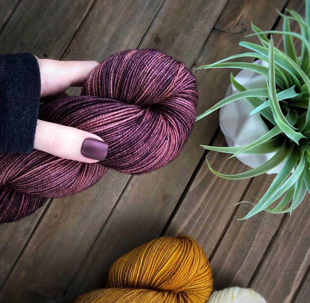 Jen of Laine and Lotus beautiful purple colorway Dream Weaver