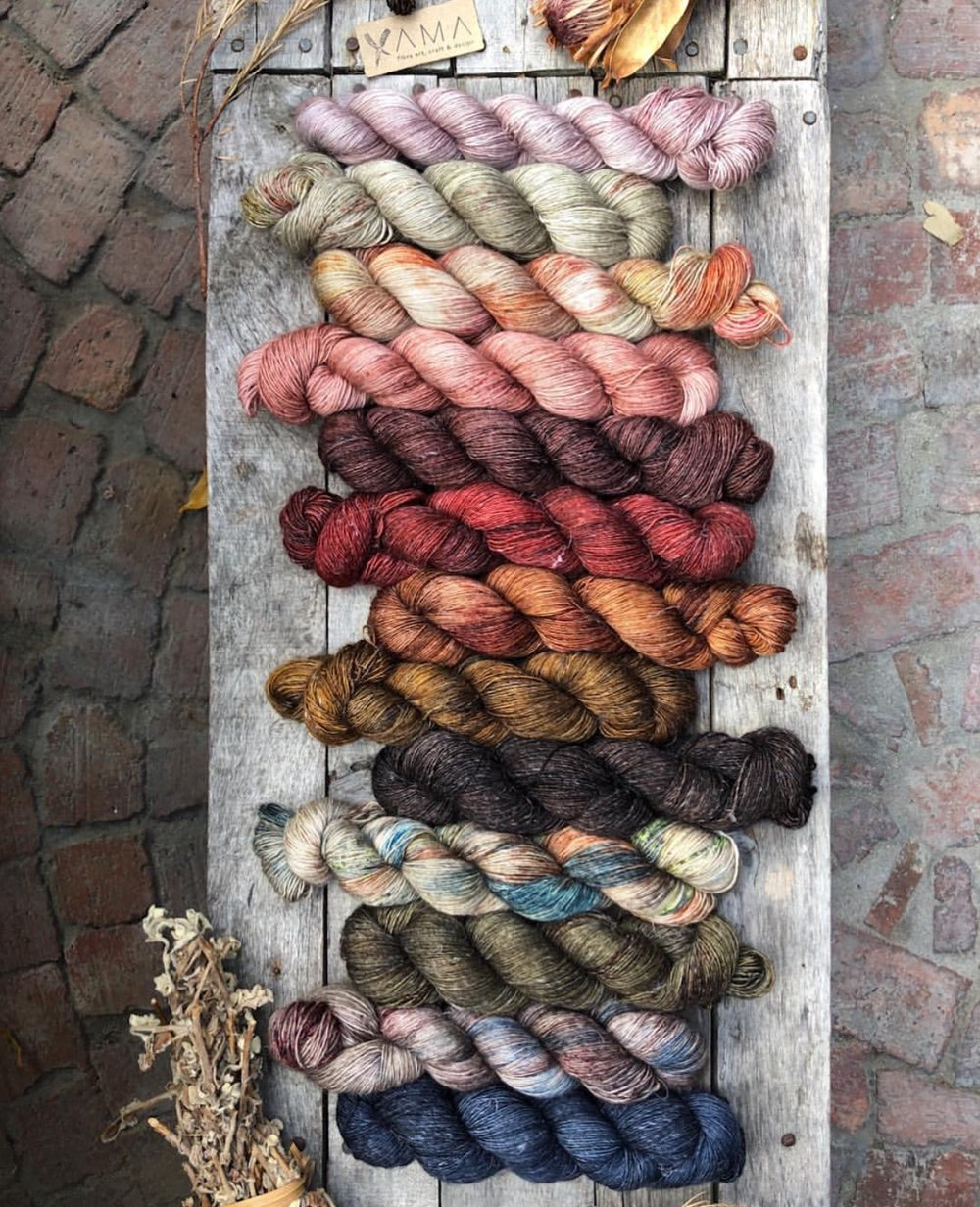 Gorgeous colorways layout of Yama Yarns of South Africa