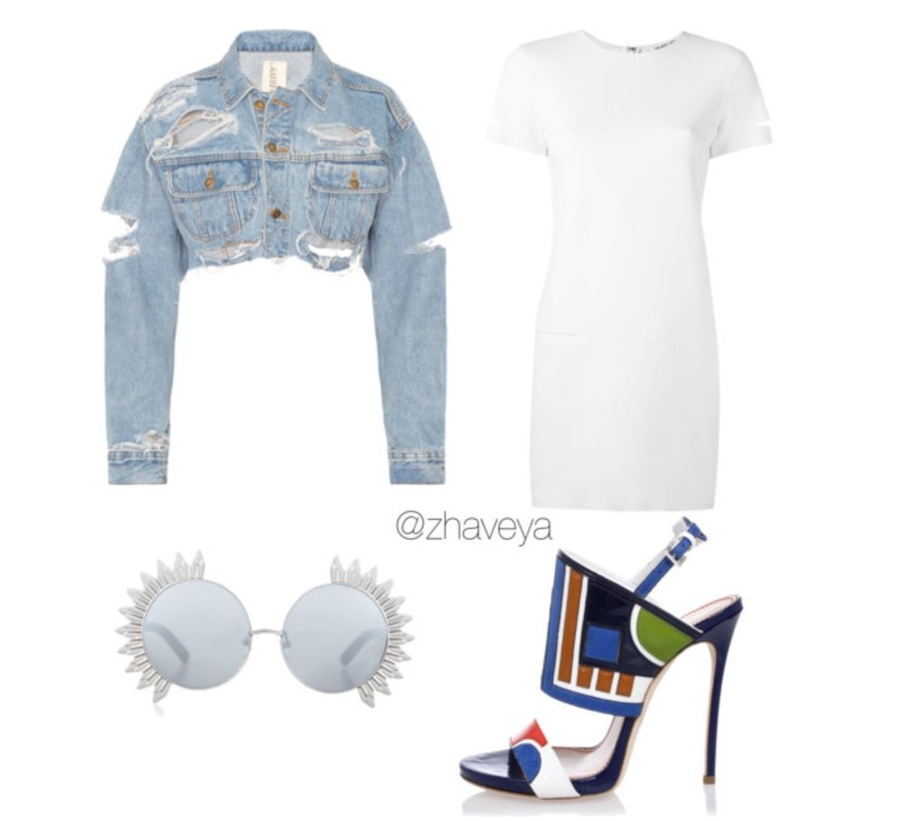 This Look Features: DSquared2, Dash, Helmut Lang, and Linda Farrow