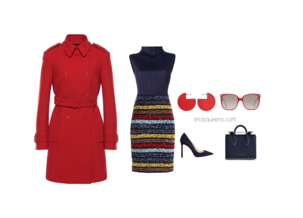 REDValentino|Trench Coat    Issey Miyake|Pleats Please High Neck Top    Alice + Olivia|Striped Sequined Skirt    Jimmy Choo|Romy Suede Pumps    The Strathberry|Nano Tote    Isabel Marant|90 Degree     Gucci|GG Red