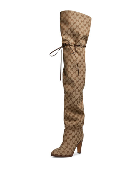 Gucci Lisa Original GG Canvas Over-The-Knee-Boot $1790