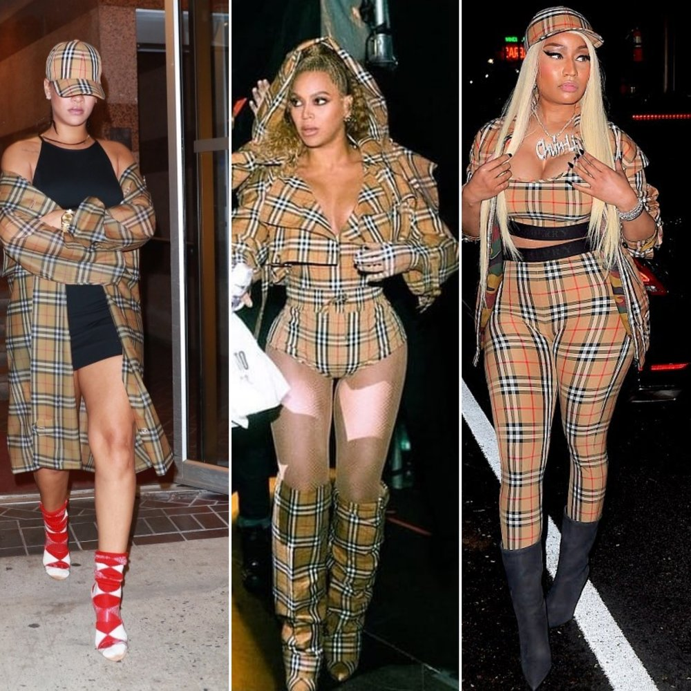 Rihanna, Beyonce, and Nicki Minaj In Burberry Vintage Check Print