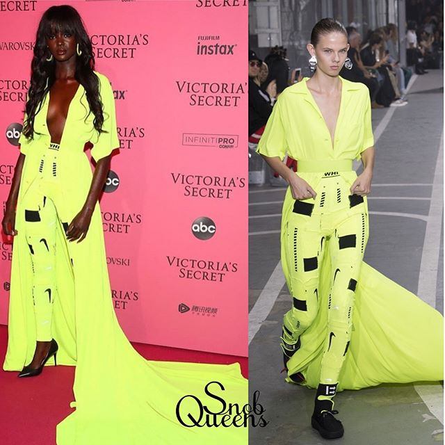 Duckie Thot Attended The Victoria's Secret Fashion Show In Off-White S|S 2019.