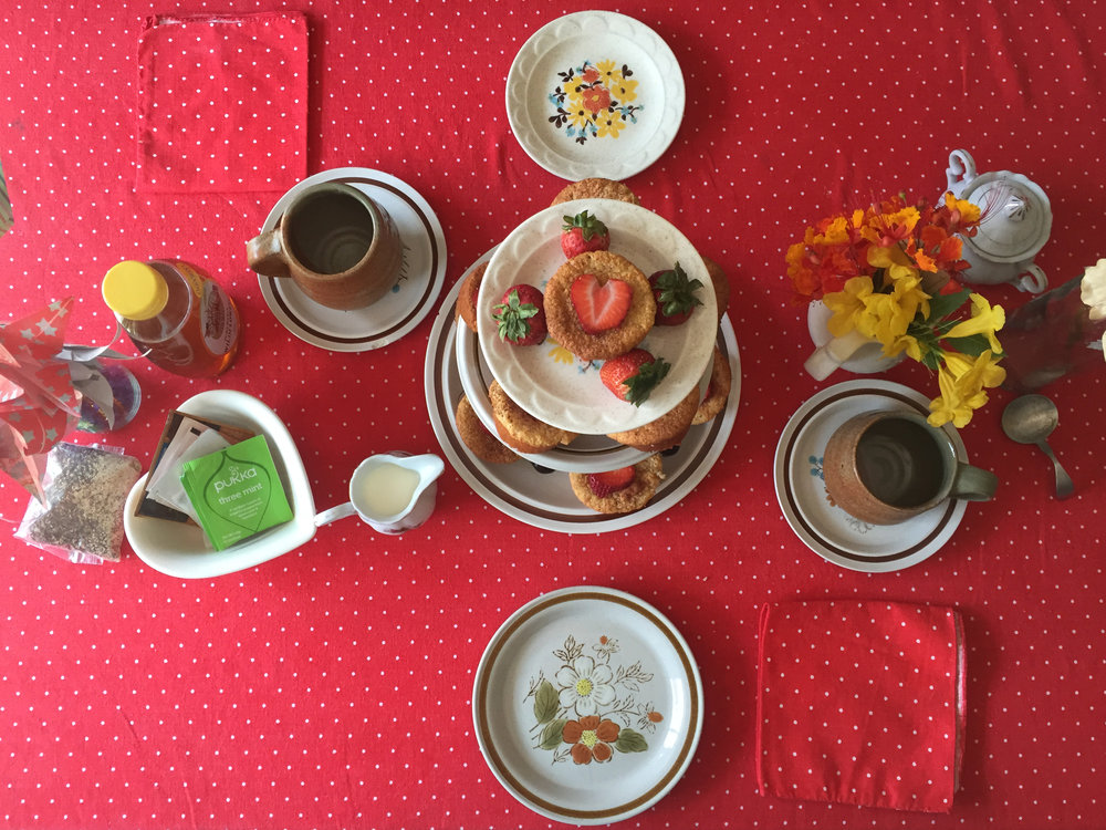 Tea party table from above