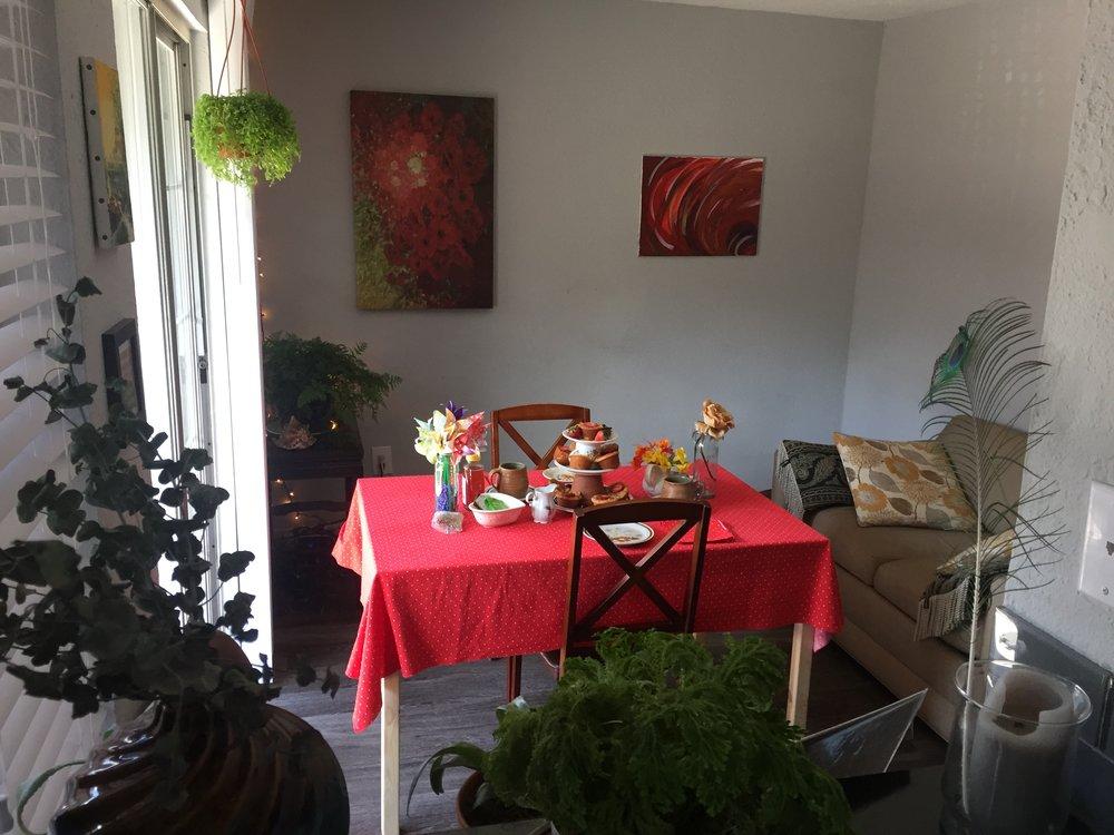 A room set for a tea party