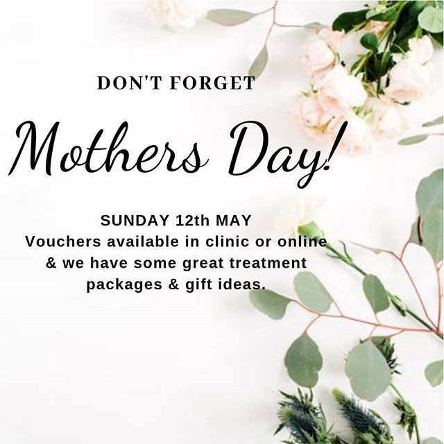 $99 Mothers Day Packages  Purchase a voucher with your choice of treatments from below or let her choose herself when she books. Each indulgent package will give her 60-75 minutes of blissful pampering  Choose from: * 30 minute facial with a 30 minute massage * 30 minute facial with a luscious foot treatment that includes a warm soak, sugar scrub & massage * 45 minute back, neck & shoulder massage with  a foot soak & sugar scrub  Come in & see us or you can purchase online.  #mothersday #treatmum #newplymouthbeauty #beautea