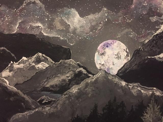Glacial Lake and full moon bliss close up.
