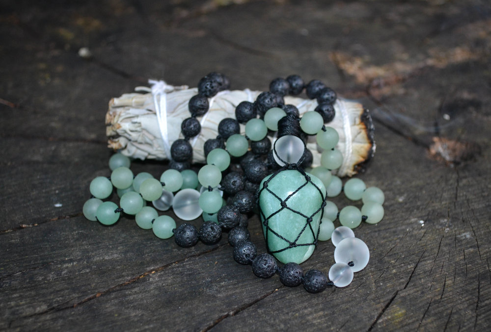 The Aventurine mala is available for purchase at Simply Gel Nails shop in Rocky Mountain House, Alberta. Xo