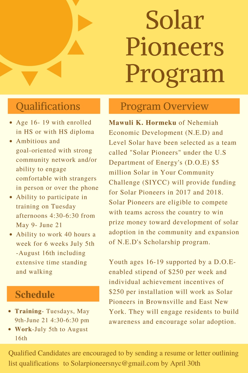 N.E.D is proud to announce our partnership with Level Solar and the U.S Department of Energy to bring solar options and summer jobs to the residents of Brownsville and East New York!