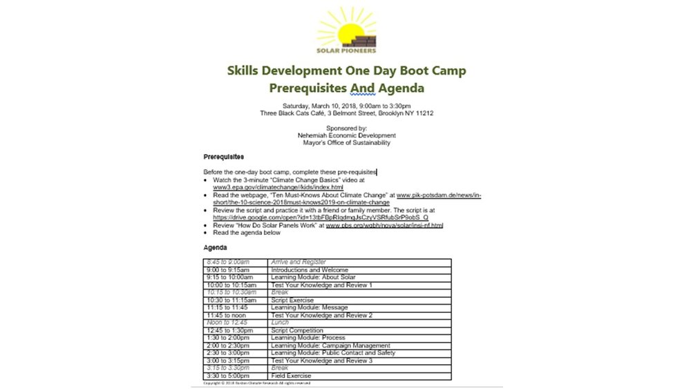 One Day Solar Boot Camp to educate & select 4 Solar pioneers to get a paid internship to increase solar awareness in Brownsville for 4 weeks.