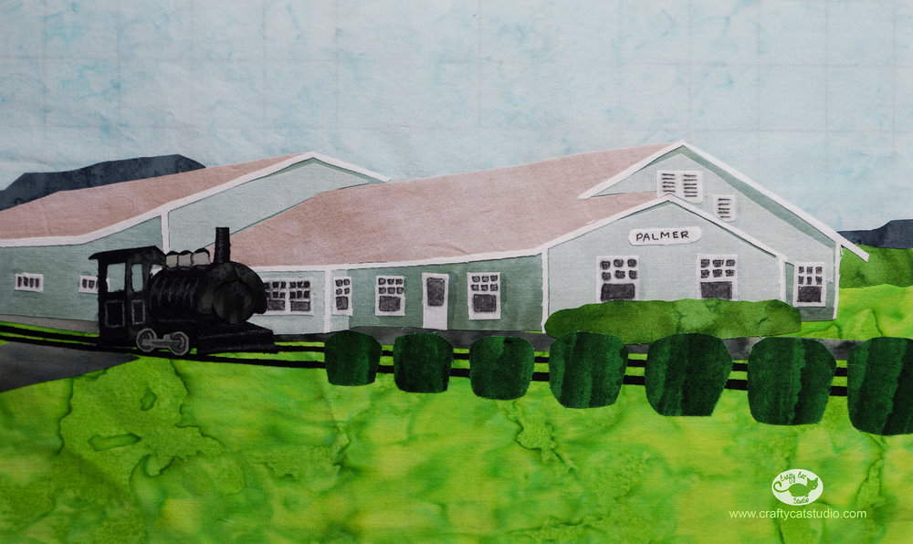 Appliqué block I designed and created of the Palmer Train Depot