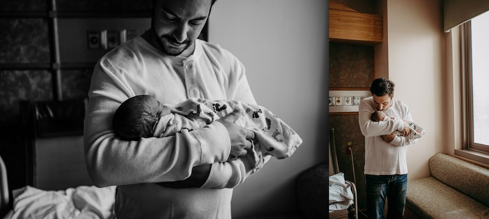 Becci Ravera Photography in hospital newborn dad with baby candid