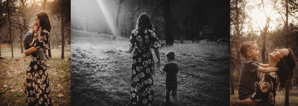 Mom and son walking, hugging and smiling Becci Ravera Photography