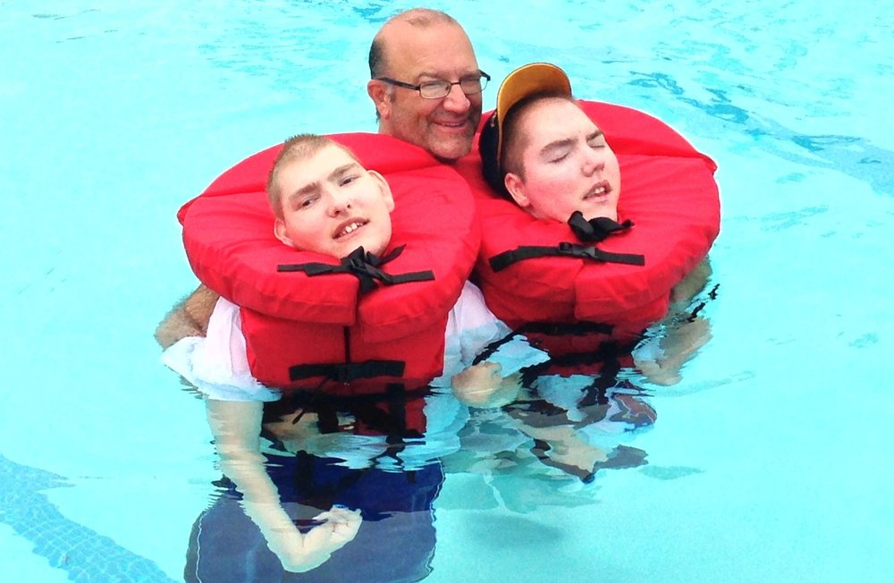My sons, Joshua, Matthew and I swimming - Summer 2014