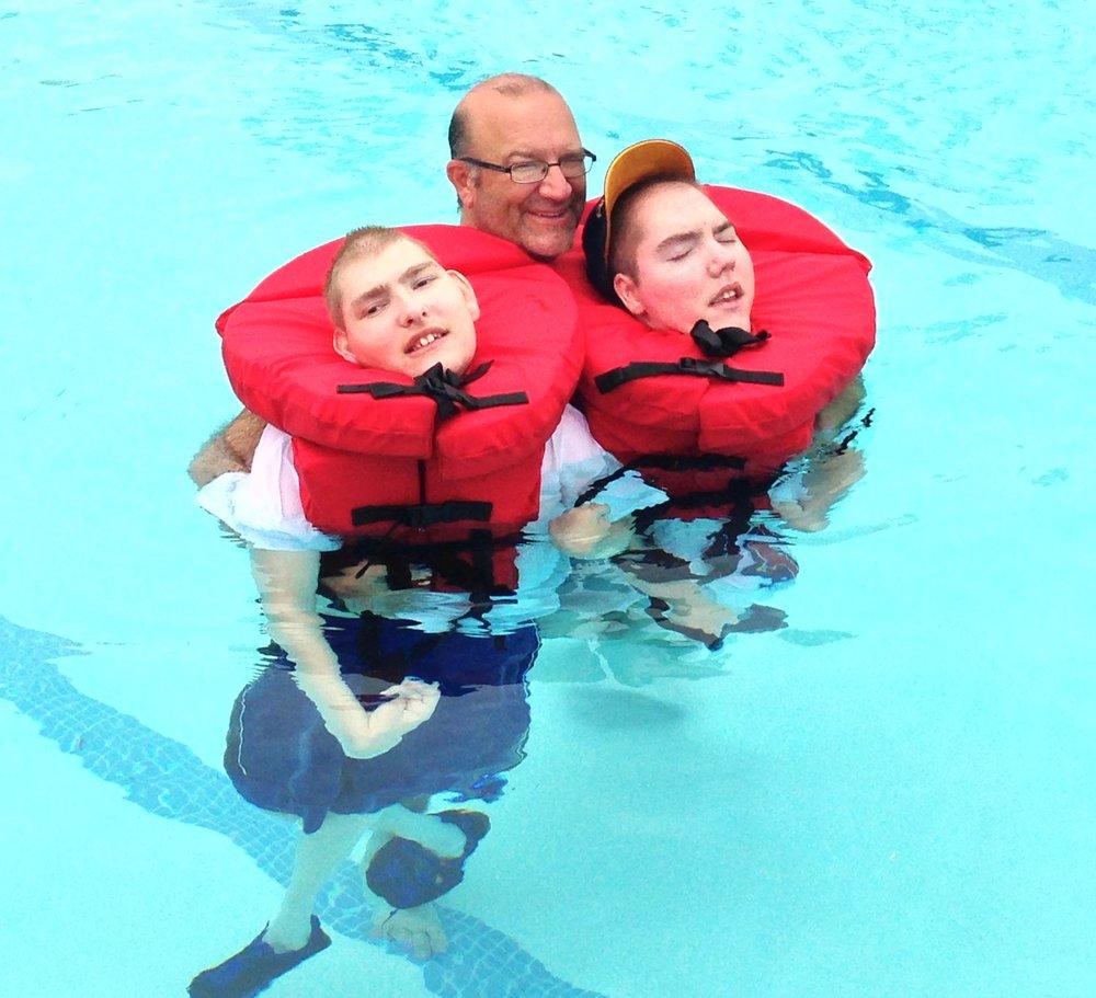 Dad, Joshua & Matthew Swimming - Summer 2013