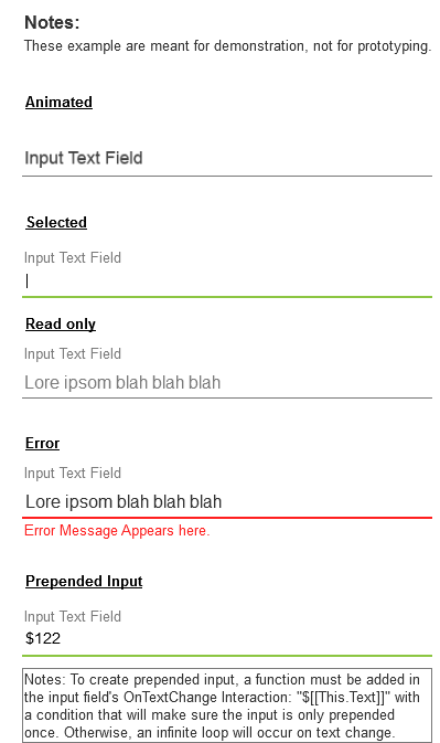 Interactive text fields & variants