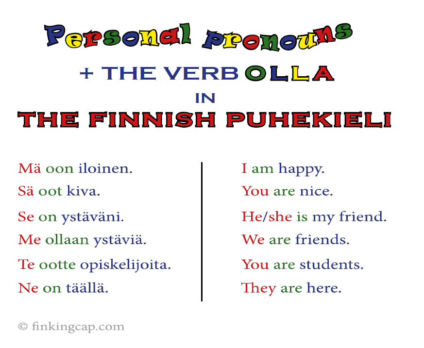 Finnish puhekieli, spoken language. Personal pronouns in puhekieli with the verb olla, 'to be'. Mä oon, sä oot, se on, me ollaan, te ootte, ne on.