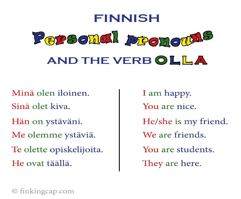 The Finnish personal pronouns in standard Finnish, with the verb olla, 'to be': minä olen, sinä olet, hän on, me olemme, te olette, he ovat.