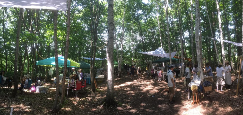 "Mori Jam is an annual ""picnic in the forest"" in Shimokawa, where locals set up stalls selling food and accessories in the forests. Chill on a lazy summer afternoon listening to music and the birds chirping.   Mori Jam will take place on July 7 and 8 this year (2018).   http://morijam.tumblr.com/"