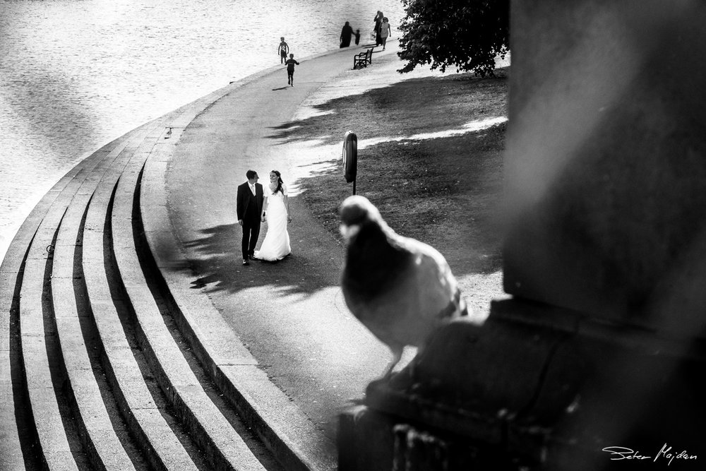 newlywed walking at nottingham riverside