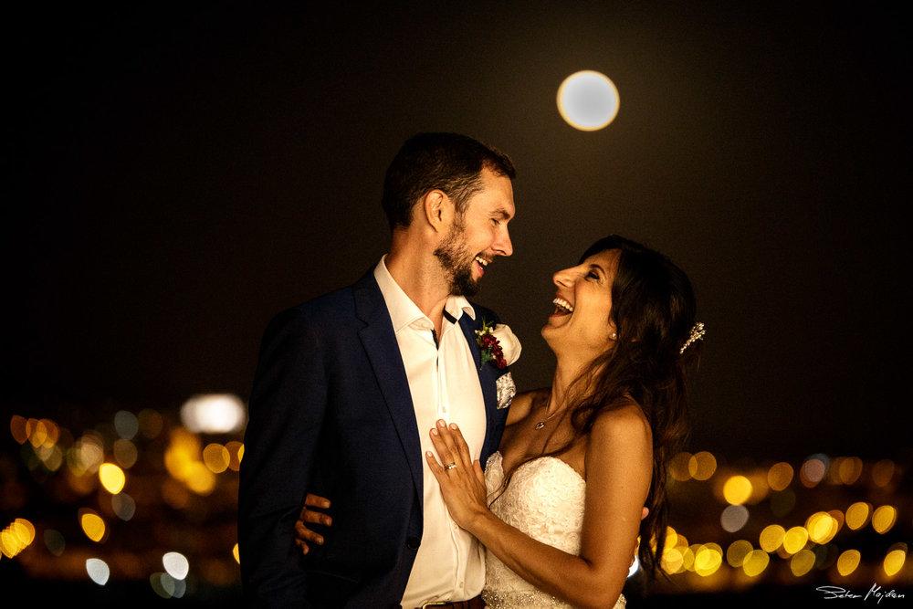 wedding portrait after sunset