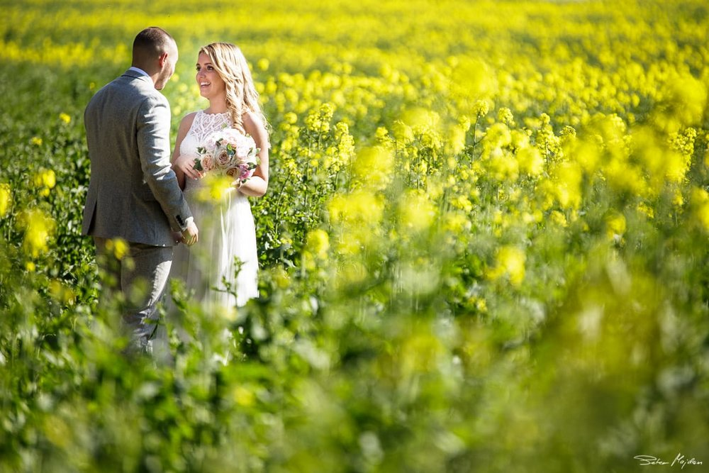 relaxed portrait of wedding couple