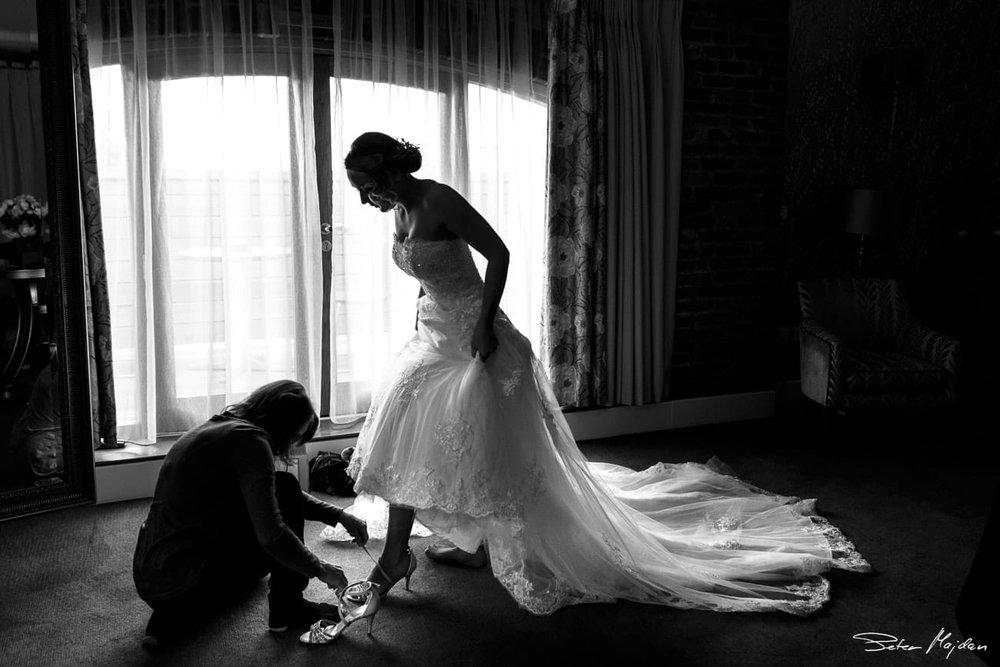 bride in honeymoon suite
