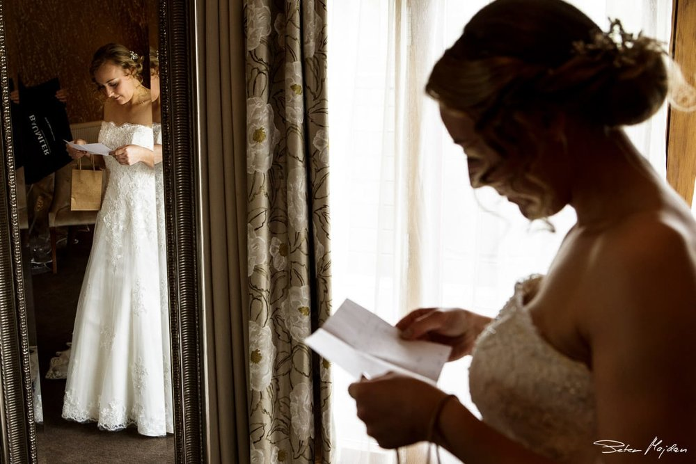 bride reading message from groom