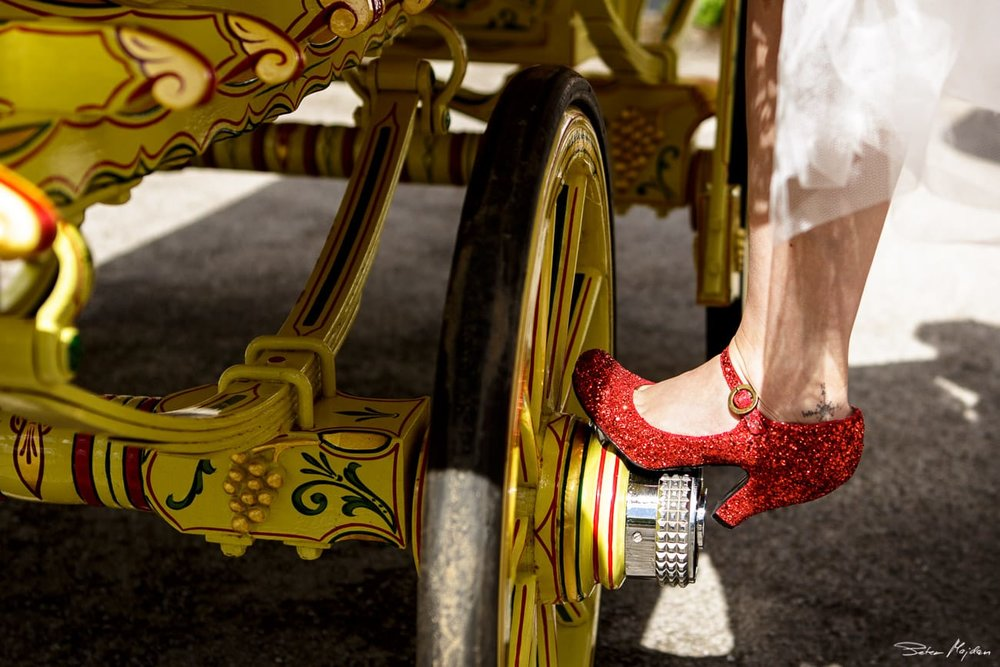 red and glittery wedding shoes
