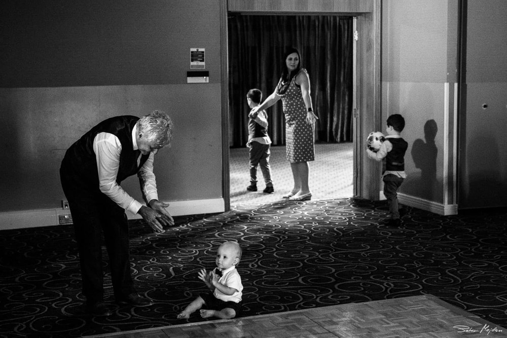 wedding guests playing with kids
