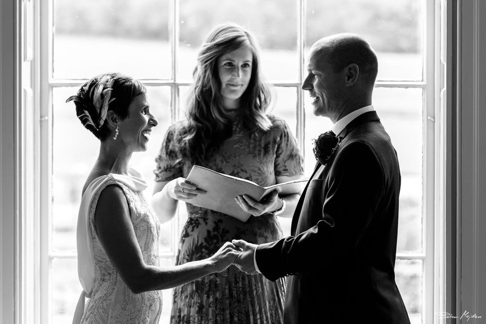 wedding vows at Prestwold Hall