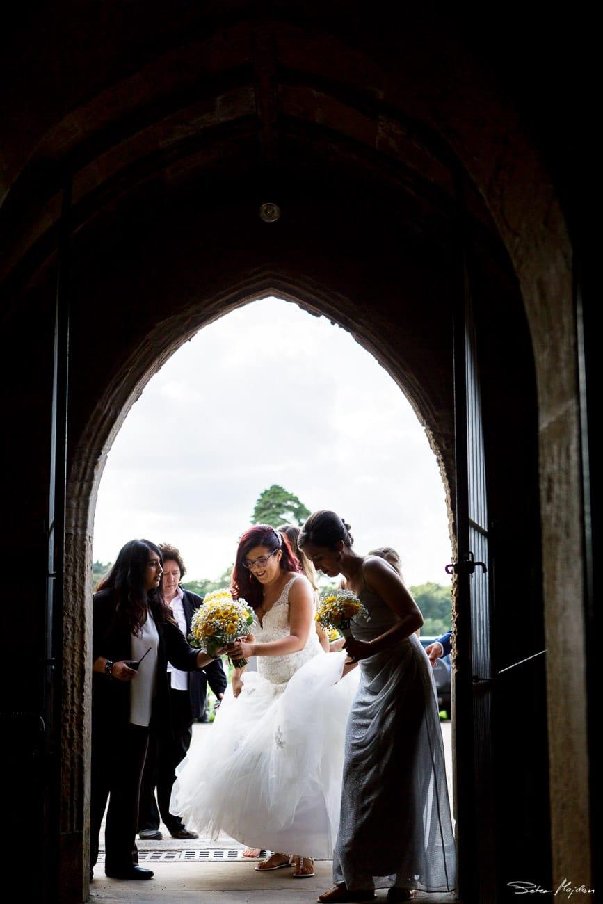 bride entering Newstead Abbey