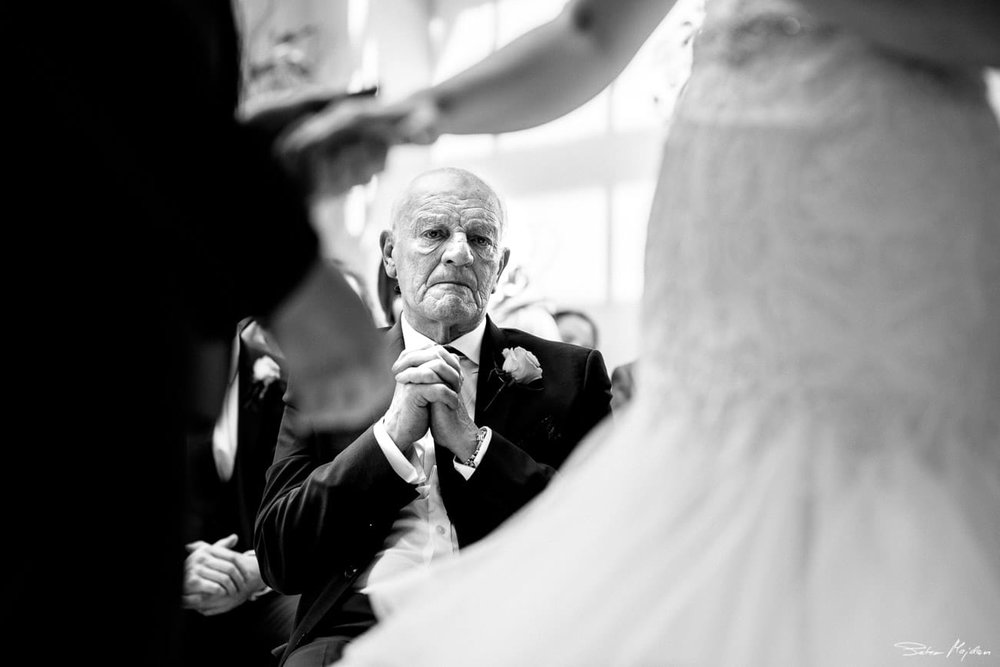 grandfather getting emotional during ceremony