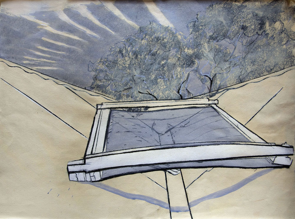 His Own Roof - charcoal and goauche - 1981 56x76cm