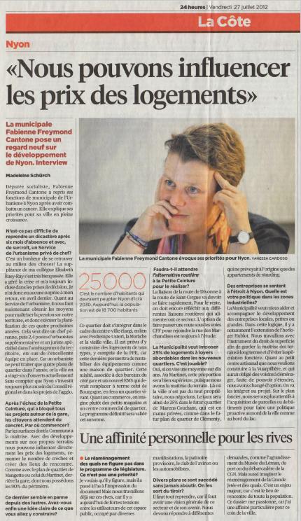 2012-07-27 La Côte - Influencer les prix du logement
